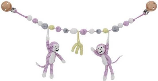 Sindibaba wandelwagen spanner Monkey roze/grijs Wagenspanner Monkey roze/grijs