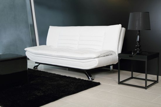 24Designs Slaapbank Jannick - B196 X D98 X H91 Cm - Wit Kunstleer