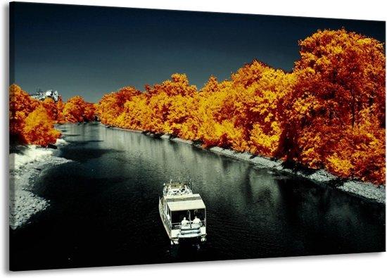 Canvas schilderij Boot   Bruin, Zwart, Grijs   140x90cm 1Luik