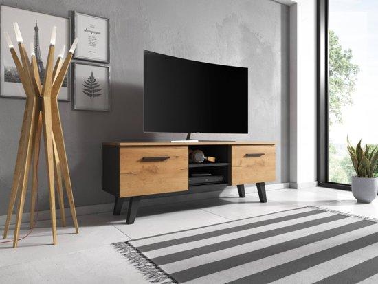 Tv Meubel Zwart Eiken Scandinavisch Design 140x53x41 Cm