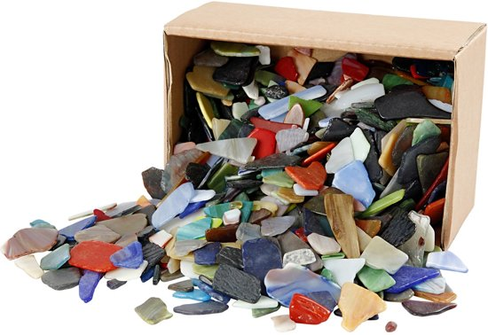 Mozaiek, afm 15-60 mm, dikte 5 mm, diverse kleuren, Kleuren assorti, 2kg