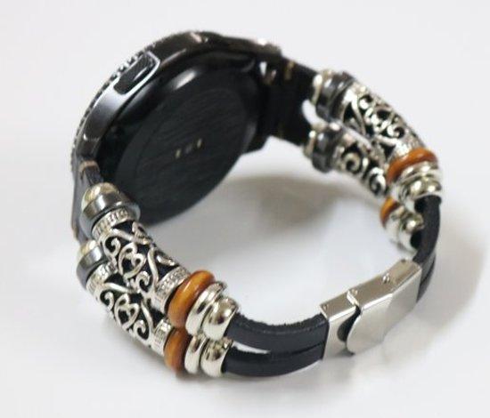 Bandje Leer Zwart Ibiza style geschikt voor Galaxy Watch 42mm en Galaxy Watch Active/Active 2