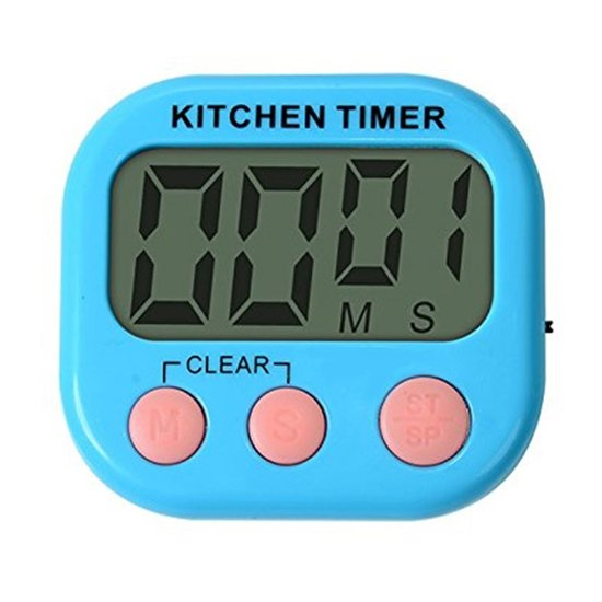 Kitchen Timer - Digitale Kookwekker met Groot Display en Magneet Blauw