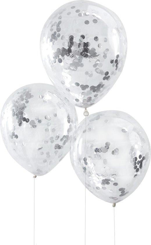 Ginger Ray Pick & Mix - Ballon gevuld met zilveren confetti Ø 28 cm - Set-5 Valentinaa