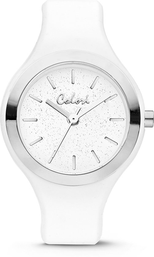 Colori Macaron 5 COL574 Horloge - Siliconen Band - Ø 30 mm - Wit / Zilverkleurig