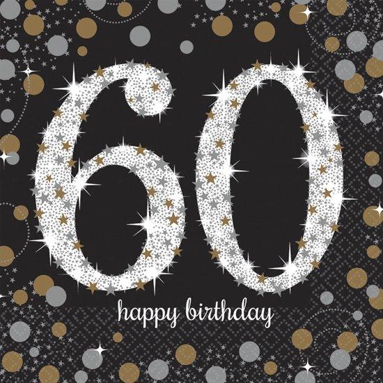 servetten - 60 happy birthday - sparkling 16 stuks