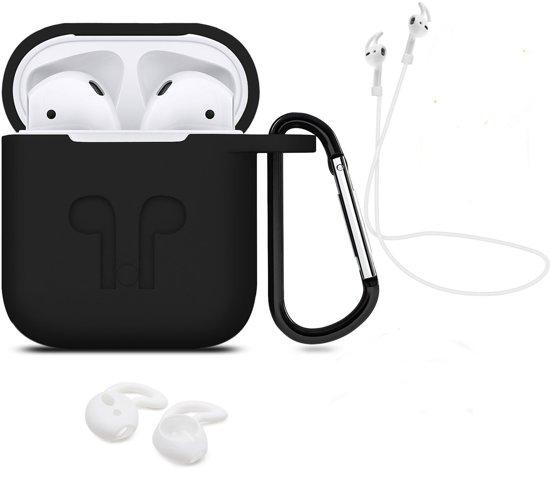 3 in 1 set! Airpods hoesje siliconen case cover beschermhoes + strap voor Apple Airpods - zwart