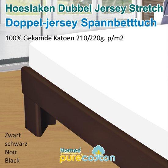 Homéé - Hoeslaken Double dik jersey stretch 210g. p/m2 100% katoen - Wit - 90/100x200 +30cm