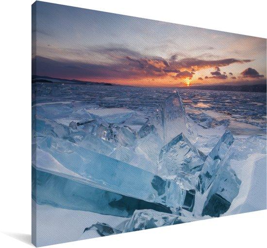 Zonsondergang achter het Bajkalmeer in Rusland Canvas 30x20 cm - klein - Foto print op Canvas schilderij (Wanddecoratie woonkamer / slaapkamer)