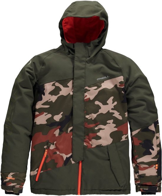 O'Neill Thunder Peak Wintersportjas - Maat 128  - Jongens - donker groen/ zwart/ oranje