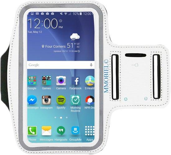 MMOBIEL Sport / Hardloop armband (WIT) voor Samsung S10 / S10E / S9 / S8 / S7 / S6 (edge) /S5 (Neo) / A5 / A3 / J6 / J5  Spatwatervrij, Reflecterend, Neopreen, Comfortabel, Verstelbaar, Koptelefoon Aansluitruimte en Sleutelhouder!