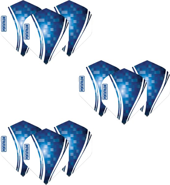 Pentathlon Wave - sterke flights - Blauw - Dragon darts - 3 Sets (9 stuks) - darts flights