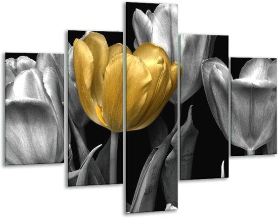 Glasschilderij Tulp | Goud, Zilver, Grijs | 100x70cm 5Luik | Foto print op Glas |  F003624