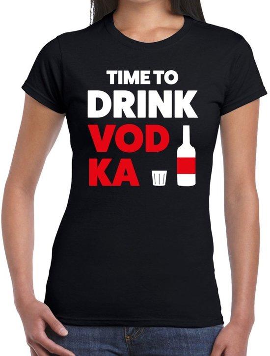 Time to drink Vodka tekst t-shirt zwart dames 2XL