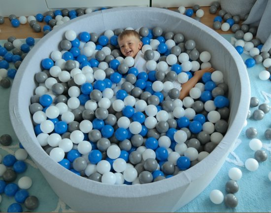 Ballenbak - stevige ballenbad - 125 cm - 1200 ballen Ø 7 cm - wit, grijs, turquoise.