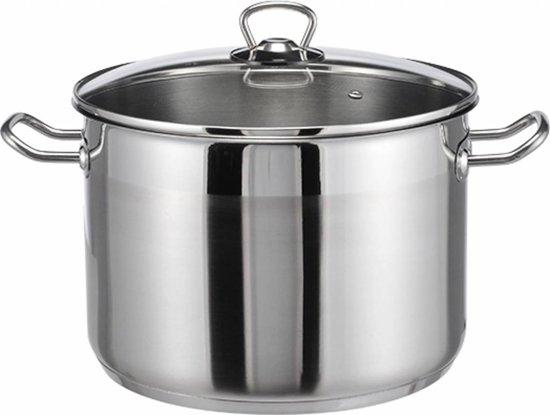 Emaille Soeppan 10 Liter.Haushalt Soeppan Met Glazen Deksel 10 Liter Rvs