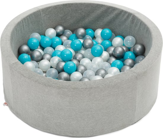 FUJL - Ballenbak - Speelbak - Lichtgrijs - ⌀ 90 cm - 200 ballen - Kleuren - Zilver - Parel  -Turquoise - Transparant