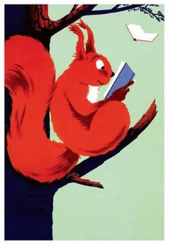 Afbeelding van het spel Squirrel Reading - Books & Readers Greeting Card
