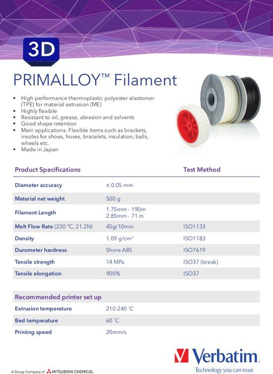 Verbatim 55506 3D Printer Filament PRIMALLOY 1.75mm 500g Zwart