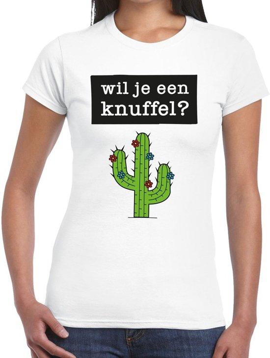 Wil je een knuffel tekst t-shirt wit dames - dames shirt  Wil je een knuffel? L