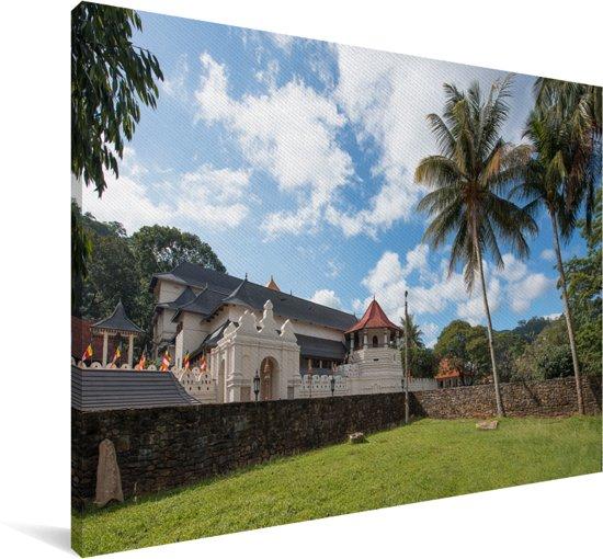 Foto van de muur van de Tempel van de Tand in het Aziatische Sri Lanka Canvas 60x40 cm - Foto print op Canvas schilderij (Wanddecoratie woonkamer / slaapkamer)