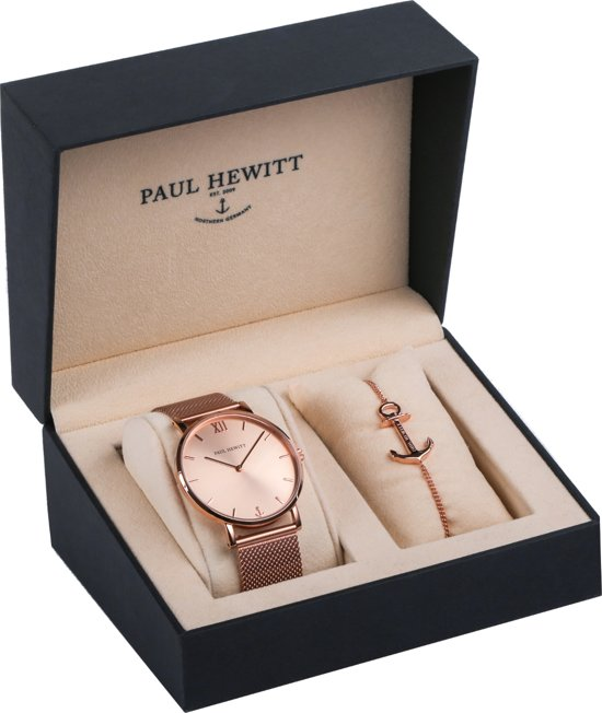 Paul Hewitt Perfect Match Rose Sunray and Anchor Spirit - PH-PM-1 - Horloge en armband - Staal - Rosekleurig - Ø39mm