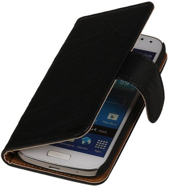 MP Case Zwart Echt Leder Booktype Samsung i9190 Galaxy S4 mini in Hooglede