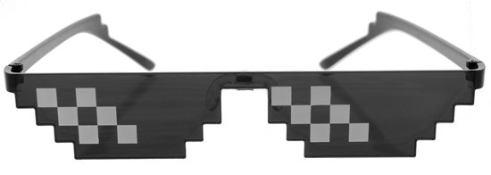Marvies Thug Life Zonnebril   Deal With It Bril   6 Pixels   Zwart   Meme   Sunglasses   Glasses