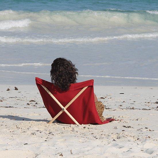 Pro Beach Strandstoel.Strandstoel Opvouwbaar Canvas Grenen Beach Chair Beach Lounger Rood