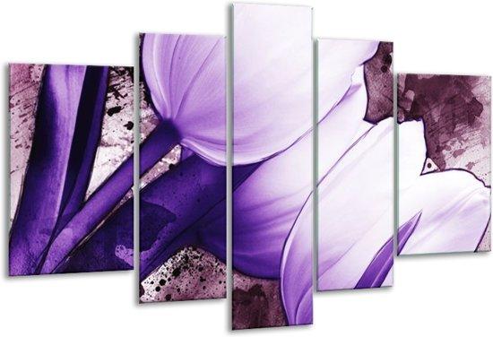 Glasschilderij Tulpen   Paars, Wit   170x100cm 5Luik   Foto print op Glas    F003262