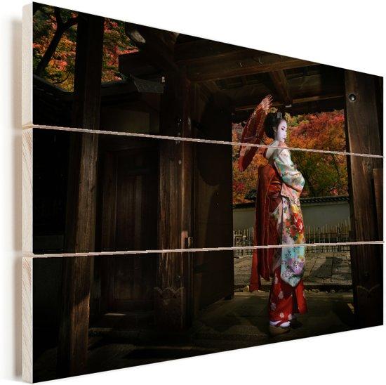 Geisha bij Gion in Japan Vurenhout met planken 60x40 cm - Foto print op Hout (Wanddecoratie)