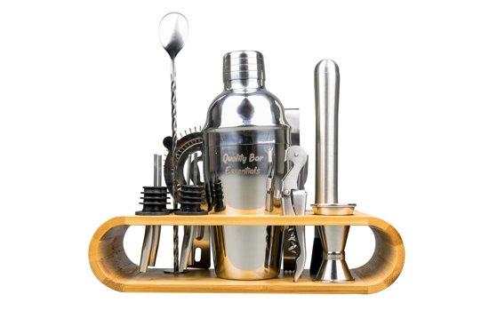 Premium Cocktail Shaker Set - Bamboe Standaard - Zilver - 12-delig - RVS - Met Gratis Receptenboekje