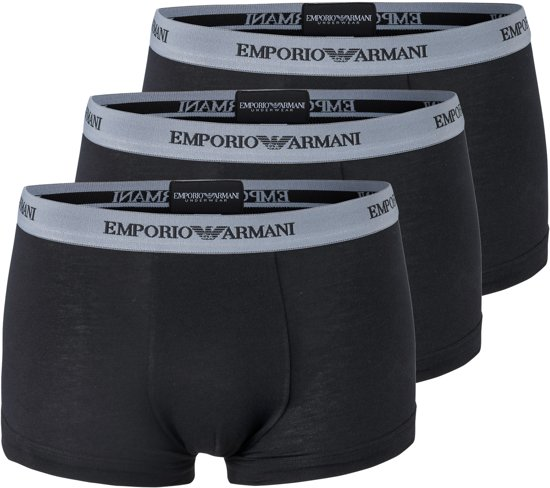 Armani Trunks (3-pack) - zwart -  Maat M