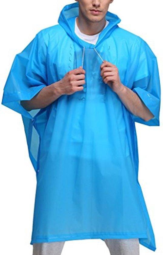 Blauwe Lichtgewicht Regenponcho met Witte Koord | Poncho | Regen | Regenjas | Regenkleding | Koordjes Wit | Blauw