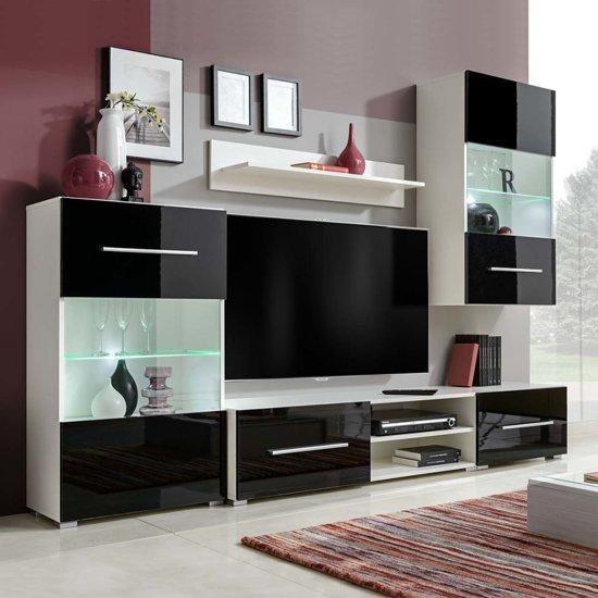 Tv Meubel 4 Delig.Muurvitrine Tv Meubel Met Led Verlichting Zwart 5 Delig