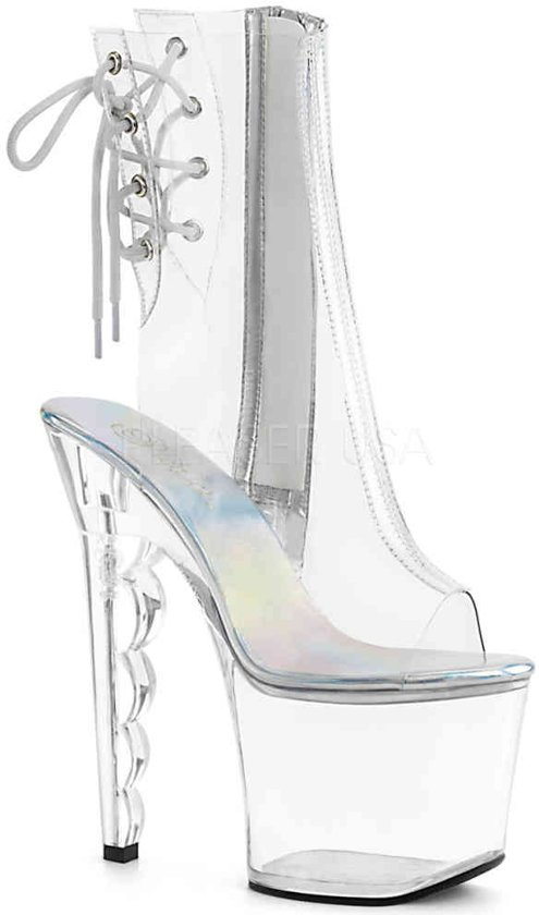 RADIANT-708LG (EU 36 = US 6) 7 Heel, 3 1/4 PF Ankle Strap Sandal w/ Glitter Bottom