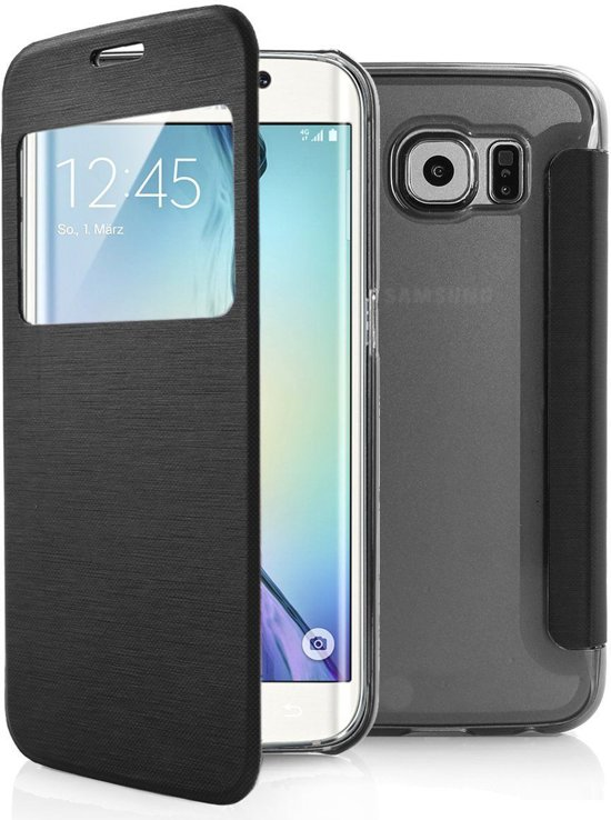 free shipping d8bf2 4780c Samsung Galaxy S6 Edge window view flip case cover Zwart