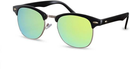 191dc9a65e78de Cheapass Zonnebrillen - Clubmaster zonnebril - Groene spiegelglazen - Goedkope  zonnebril