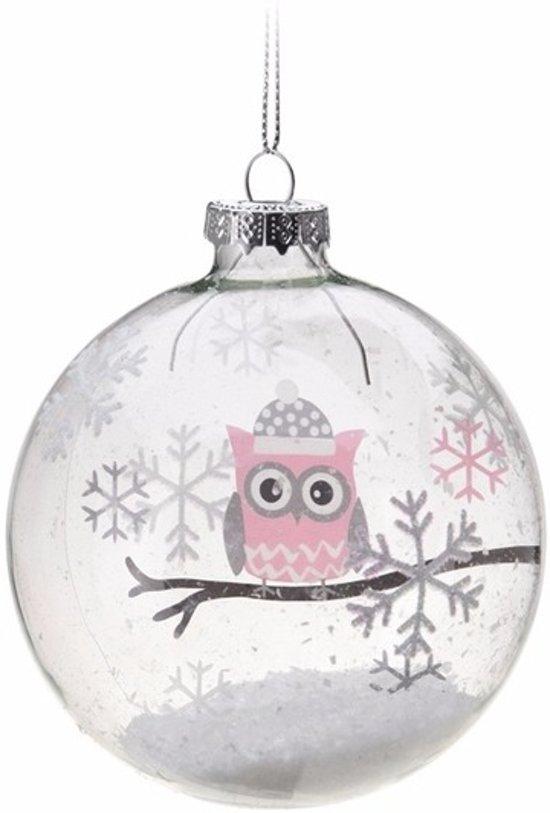 Bol Com Kerstboom Decoratie Kerstbal Roze Uiltje 7 Cm