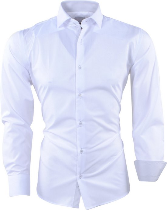 Heren Overhemd Wit.Bol Com Pradz Heren Overhemd Gestreepte Kraag Slim Fit Wit