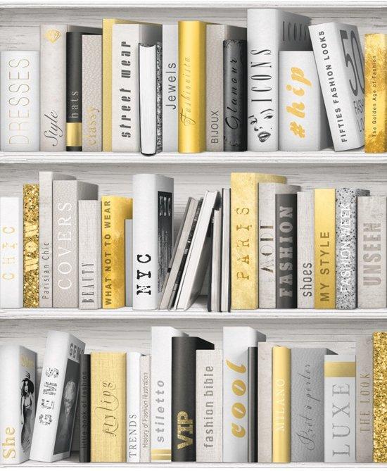 bol.com   Faux Semblant boekenkast wit/goud behang (vliesbehang, wit)