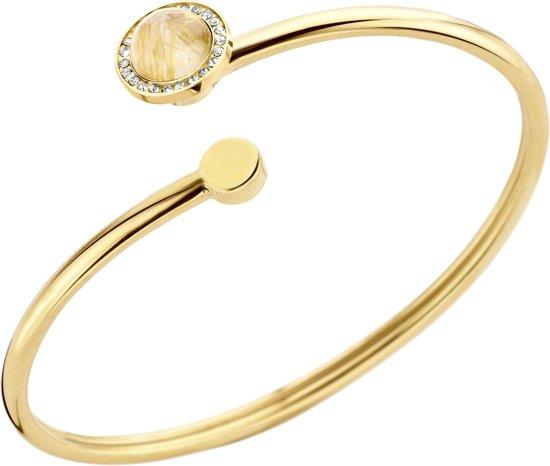 Melano vivid plate wire armband - dames - goudkleurig - rut. quartz gold - small