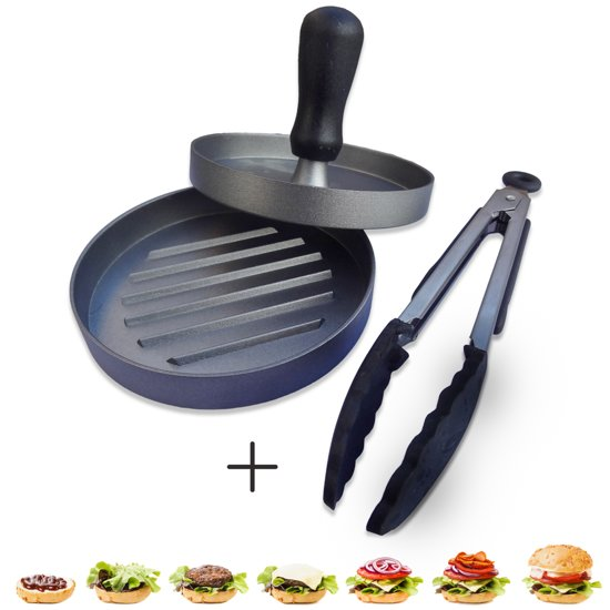 Hamburgerpersen - Hamburgers Maken - Hamburgervormer Met Antiaanbaklaag - Vleestang - Aluminium