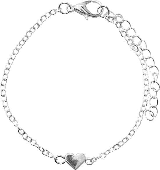 24/7 Jewelry Collection Armband Hartje - Minimalistisch - Dames -  Zilverkleurig - 16 cm