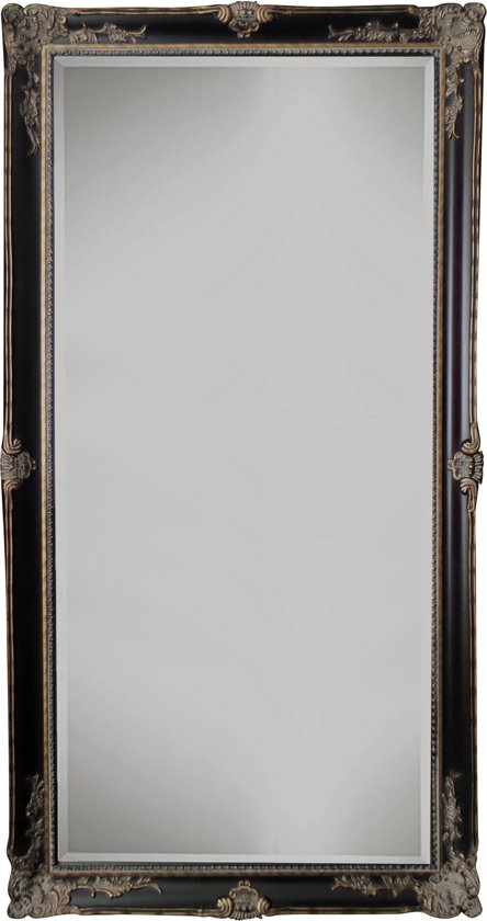 Spiegel - Yana- zwart / antiek goud - buitenmaten breed 81 cm x hoog 181 cm.