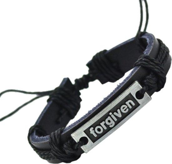 Fako Bijoux® - Armband - Leder - Forgiven - Zwart