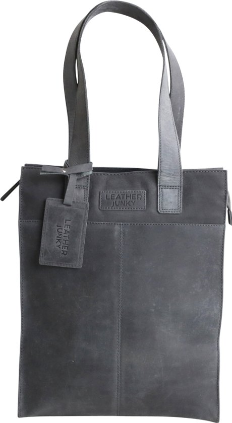d3065160952 bol.com | Leather Junky - tas - The Hit&Run Shopper Bag - grijs - leer