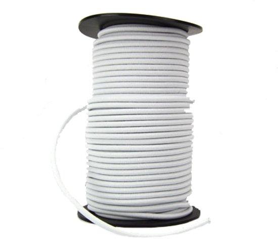 50 meter Elastisch Touw - 6 mm - WIT - elastiek op rol