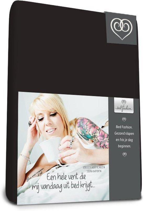 Bed-Fashion jersey hoeslaken voor boxspring Zwart - 140 x 220 cm - Zwart