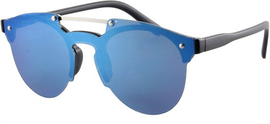 Zonnebril met blauwe glazen en zwarte pootjes.